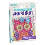 Набор для творчества. Алмазная мозаика магнит для детей «Совушка», 10 х 10 см + ёмкость, стержень, клеевая, фото 2