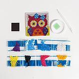 Набор для творчества. Алмазная мозаика магнит для детей «Совушка», 10 х 10 см + ёмкость, стержень, клеевая, фото 3