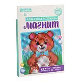 Алмазная мозаика магнит для детей «Медвежонок», 18 х 18 см + емкость, стерж, клеев подушечка. Набор для, фото 2