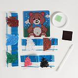 Алмазная мозаика магнит для детей «Медвежонок», 18 х 18 см + емкость, стерж, клеев подушечка. Набор для, фото 3