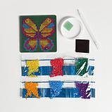 Алмазная мозаика магнит для детей «Бабочка», 10 х 10 см + ёмкость, стерж, клеев подушечка. Набор для, фото 3