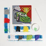 Алмазная мозаика для детей «Тачка», 15 х 15 см + емкость, стерж, клеев подушечка. Набор для творчества, фото 4