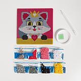 Алмазная мозаика для детей «Кошечка», 15 х 15 см + емкость, стерж, клеев подушечка. Набор для творчества, фото 3