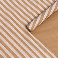 """Бумага упаковочная крафт """"Полосы наклонные белые"""", 0,6 x 10 м, 70г/м2"""