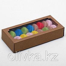 Коробка сборная без печати крышка-дно бурая с окном 24 х 11 х 4,5 см