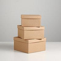 "Набор коробок 3 в 1 ""Крафт однотонный"", 19 х 19 х 9,5 - 15,5 х 15,5 х 6,5 см"