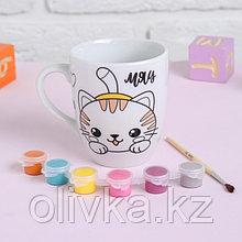 Роспись кружки красками - частичное заполнение «Милый котёнок»