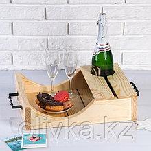 Поднос для вина под одну бутылку, ручки металлические, масло, МАССИВ, 30×40 см