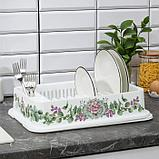 Сушилка для посуды IDEA «Деко. Каменная роза», 40×26×9 см, цвет белый, фото 2
