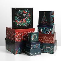 Набор подарочных коробок 10 в 1 «Новогодняя ботаника», 10.2 × 10.2 × 6 28.2 × 28.2 × 15 см