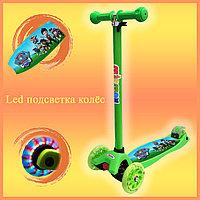 Самокат Детский 4-х колесный от 2 до 9 лет гелевые колеса с LED-подсветкой Щенячий патруль зеленый