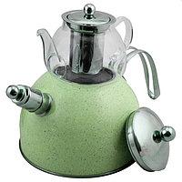 Чайник со свистком из нержавеющей стали 3 л с термостойким заварником 600 мл 2 в 1 Haus roland зеленый