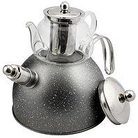 Чайник со свистком из нержавеющей стали 3 л с термостойким заварником 600 мл 2 в 1 Haus roland серый