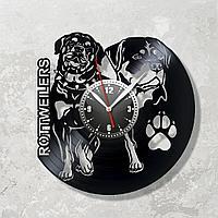 Настенные часы из пластинки собака Ротвейлер, подарок владельцам, фанатам, любителям, 1603