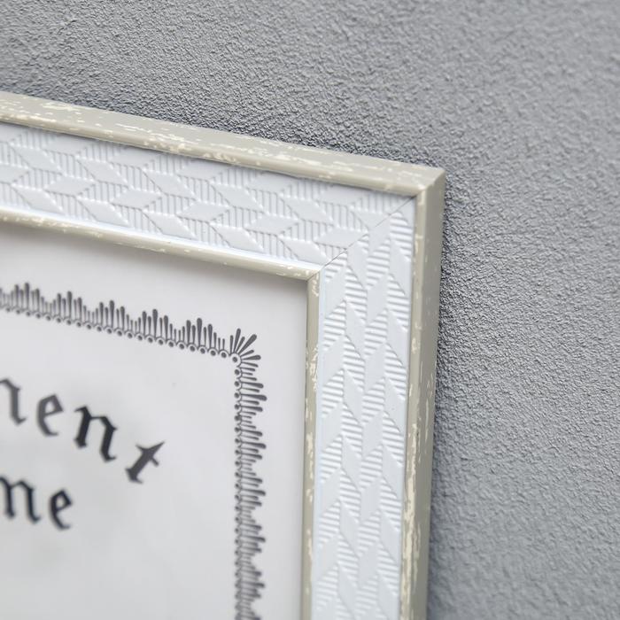 """Фоторамка пластик формат А4 """"Плетёнка"""" белая с серебряной двойной полосой 34,5х25,5 см - фото 2"""