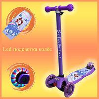 Самокат Детский 4-х колесный от 2 до 9 лет гелевые колеса с LED-подсветкой София Прекрасная фиолетовый