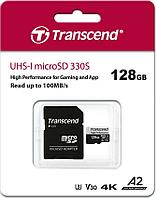 Карта памяти MicroSD 128GB Class 10 U3 A2 Transcend TS128GUSD330S