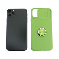Чехол Apple iPhone 11 Pro Max силиконовый, зеленый защита для камеры