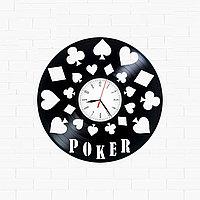 Настенные часы из пластинки Покер Poker, подарок игрокам в покер, фанатам, любителям, 1612