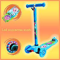Самокат Детский 4-х колесный от 2 до 9 лет гелевые колеса с LED-подсветкой Смешарики голубой