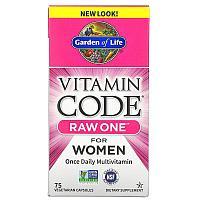 Garden of Life, Vitamin Code, RAW One, мультивитаминная добавка для женщин (для приема 1 раз в день)