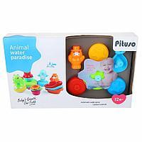 PITUSO Набор игрушек для ванной ЗАБАВНЫЕ ЖИВОТНЫЕ в кор 24 шт