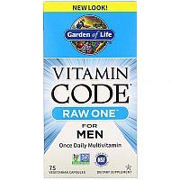 Garden of Life, Vitamin Code, RAW One, мультивитаминная добавка для мужчин , 75 капсул