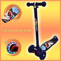 Самокат Детский 4-х колесный от 2 до 9 лет гелевые колеса с LED-подсветкой Человек Паук темно-синий