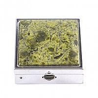 Таблетница с зеркалом на 2 отделения (утро - вечер) из змеевика цвет серебро