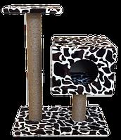 Когтеточка КУБИЗМ №4 (дом на подставке, 2 когтеточки, лежак) PerseiLine Джут. 35х30х85см КД-44