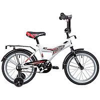 """Велосипед NOVATRACK 16"""" TURBO белый, тормоз нож, крылья, багажник хром, полная защ.цепи"""