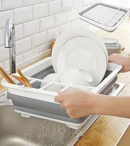 Сушилка-поддон складная силиконовая для посуды и кухонной утвари