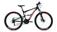 """Велосипед FORWARD RAPTOR 27,5 2.0 disc (27,5"""" 18 ск. рост 18"""") 2020-2021, черный/красный, RBKW1F17E0"""