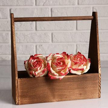 """Кашпо деревянное 30×14×30 см """"Таёжный"""", с ручкой, брашированный Дарим Красиво"""