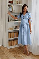 Женское летнее льняное голубое платье LadisLine 1351 голубой 44р.