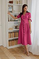 Женское летнее льняное розовое платье LadisLine 1351 малина 44р.