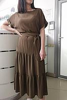 Женское летнее из вискозы коричневое платье Achosa 1800 хаки 44р.