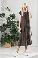 Женское летнее из вискозы коричневое платье Achosa 770 хаки 42р.