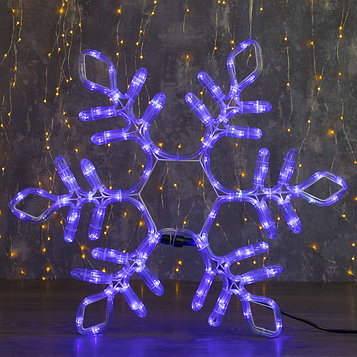 "Фигура из дюралайта ""Снежинка"" 55х55 см, 144/24 LED, мерцание, 220V, СИНИЙ-БЕЛЫЙ"