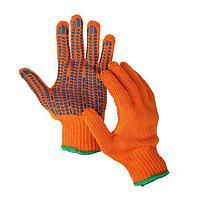 Перчатки, х/б, вязка 7 класс, 5 нитей, 3-слойные, размер 10, с ПВХ протектором, оранжевые