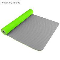 Коврик для йоги TORRES Comfort 4, TPE, 173 × 61 × 4 мм, нескользящее покрытие, цвет зелёный/серый