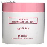 Выравнивающие подушечки для лица Petitfee с гибискусом и PHA-кислотами, 70 шт.