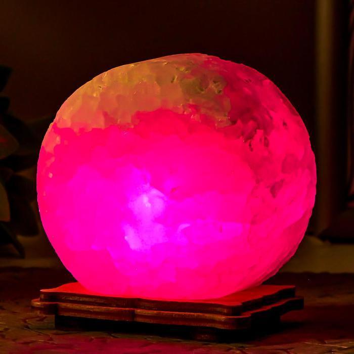 """Соляной светильник """"Круг"""" LED (диод цветной) USB белая соль 12,5*5*10 см - фото 5"""