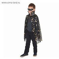 Карнавальный плащ «Кисти рук», золото на чёрном, маска, декор цепь, длина 73 см