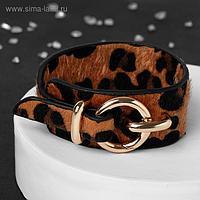 """Браслет кожа """"Сафари"""" леопард, цвет чёрно-коричневый, L=17,5 см"""