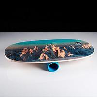 """Доска балансировочная балансборд """"Горный пейзаж №1"""" D ролика 9 см, 75×35х1,5 см"""