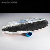 """Доска балансировочная балансборд """"Горный пейзаж №2"""" D ролика 9 см, 75×35х1,5 см"""