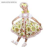 Русский народный костюм «Хохлома белая», платье, кокошник, р. 32, рост 122-128 см