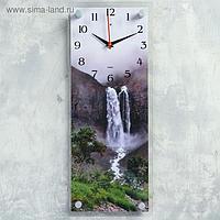 """Часы настенные, серия Природа, """"Водопад в горах"""", плавный ход, 49.5х19.5 см"""
