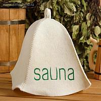 """Шапка для бани и сауны """"SAUNA - качественно отпечатанный принт на шапке"""", с принтом, белая"""